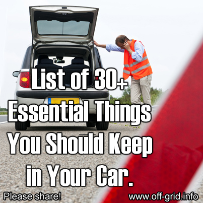 30 essential things you should keep in your car off grid. Black Bedroom Furniture Sets. Home Design Ideas