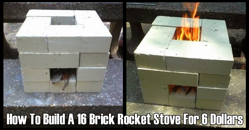 How to build a 16 brick rocket stove for 6 dollars off grid for How to make a rocket stove with bricks